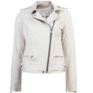 Off White Lambskin Leather Jude Moto Zipper jacket